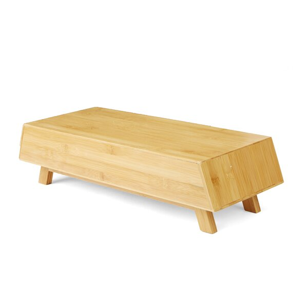 Eco-Friendly Bamboo Monitor Stand with Drawer by Mind Reader