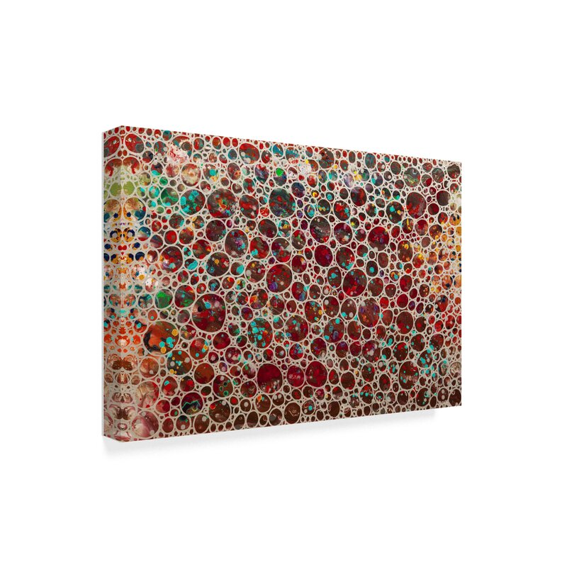 trademark art dimension bubbles red acrylic painting print on