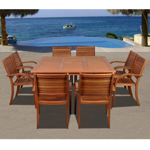 Triche International Home Outdoor 9 Piece Dining Set by Highland Dunes