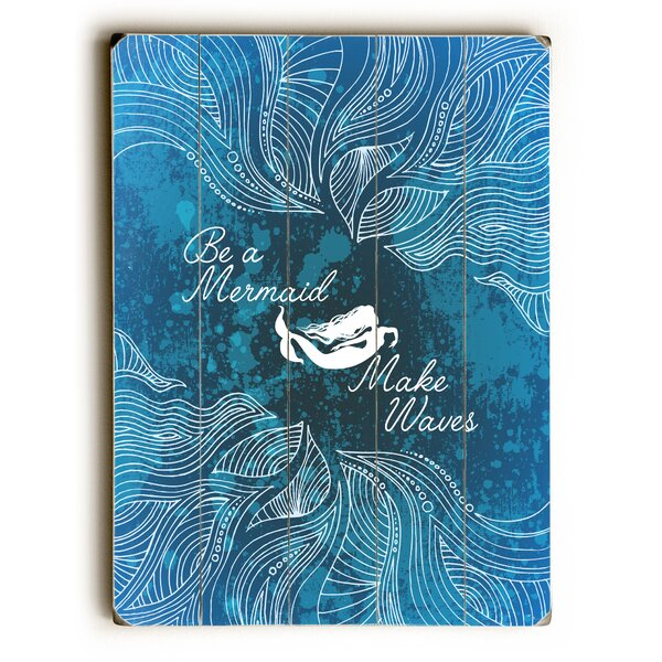 Rectangle Make Waves Dark Blue Graphic Art on Wood by Highland Dunes