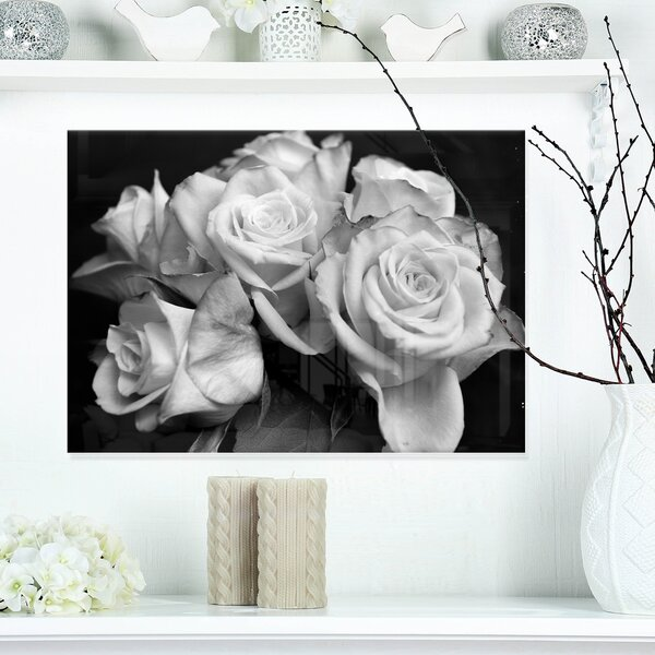 Bunch of Roses Black and White Floral Photographic Print on Wrapped Canvas by Design Art