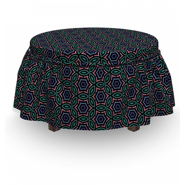 Abstract Floral Motifs 2 Piece Box Cushion Ottoman Slipcover Set By East Urban Home