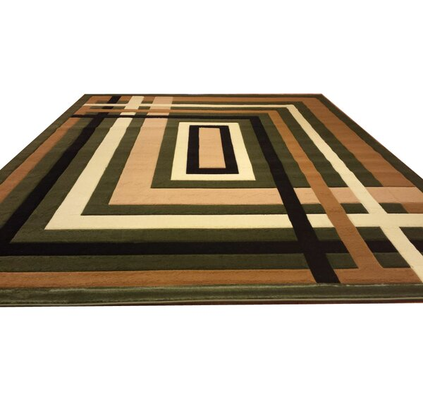 Hand-Carved Green/Black/Brown Area Rug by Rug Tycoon