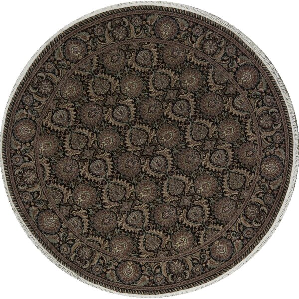 Round Oriental Hand-Knotted Shag 8' Wool Black/Gold Area Rug