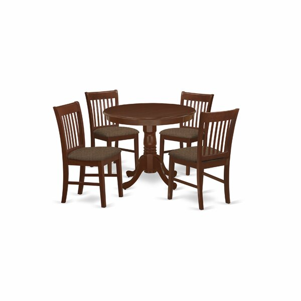 Dina 5 Piece Solid Wood Dining Set by Alcott Hill Alcott Hill