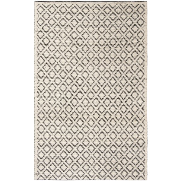 Matamoros Hand-Woven Wool Ivory/Black Area Rug by Gracie Oaks