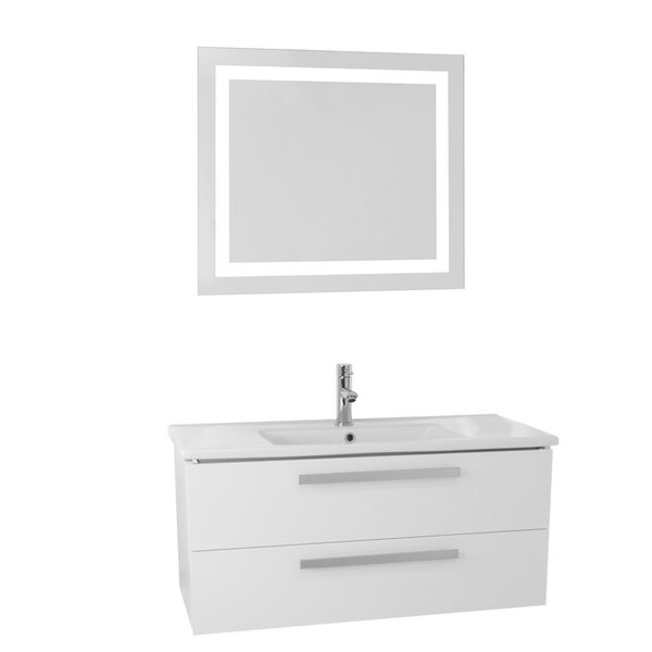 Libertyville 38 Wall-Mounted Single Bathroom Vanity Set with Mirror