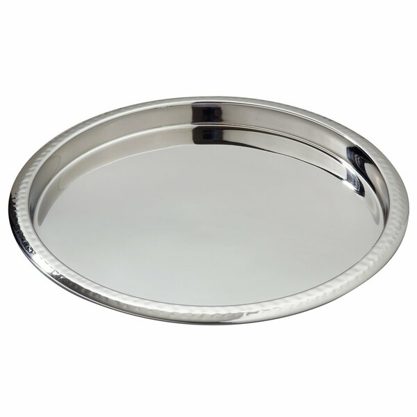 Elegance Hammered Border Stainless Steel Serving Tray by Heim Concept