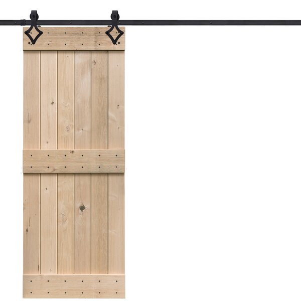 BarnWood Mid Rail Plank Wood 2 Panel Beige Interior Barn Door by Barndoorz