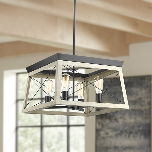 Delon 4 - Light Lantern Rectangle Chandelier by Laurel Foundry Modern Farmhouse Laurel Foundry Modern Farmhouse