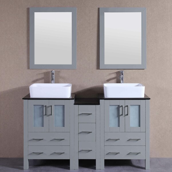 Harris 60 Double Bathroom Vanity Set with Mirror by Bosconi