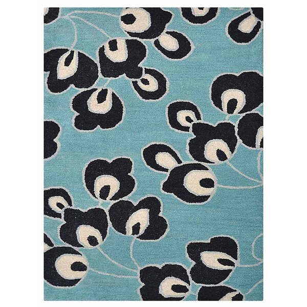 Johansson Floral Hand-Tufted Wool Blue Area Rug by Latitude Run