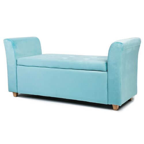Agee Upholstered Storage Bench Fairmont Park Colour: Blue