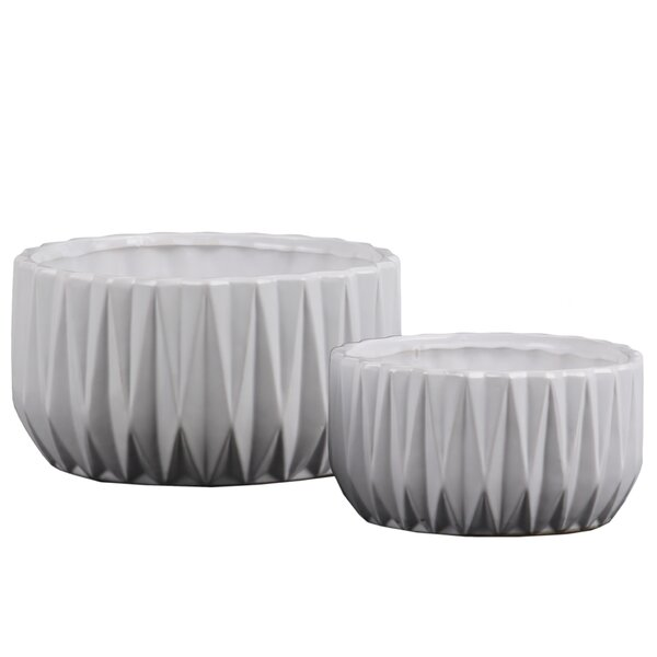 Cosper Low Round 2-Piece Ceramic Pot Planter Set (Set of 2) by George Oliver