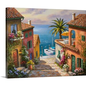 The Villas Private Dock by Sung Kim Painting Print on Wrapped Canvas by Great Big Canvas