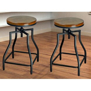 Wirksworth Adjustable Height Swivel Bar Stool (Set Of 2)