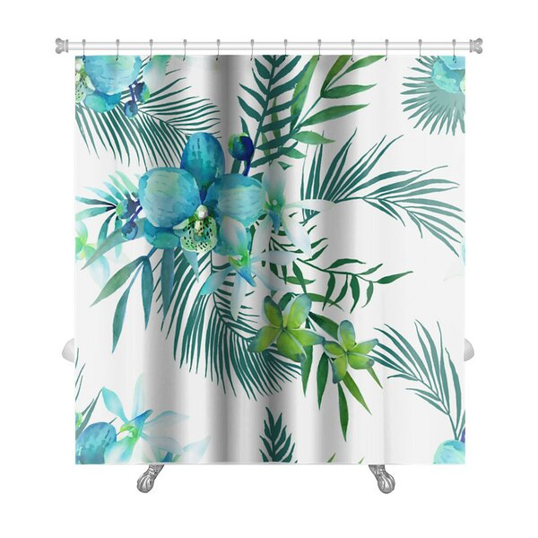 Art Touch Tropical Flowers and Palm Leaves Premium Shower Curtain by Gear New