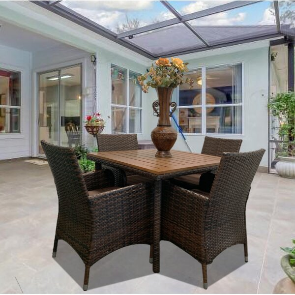 Dovray 5 Piece Dining Set with Cushions by Bay Isle Home