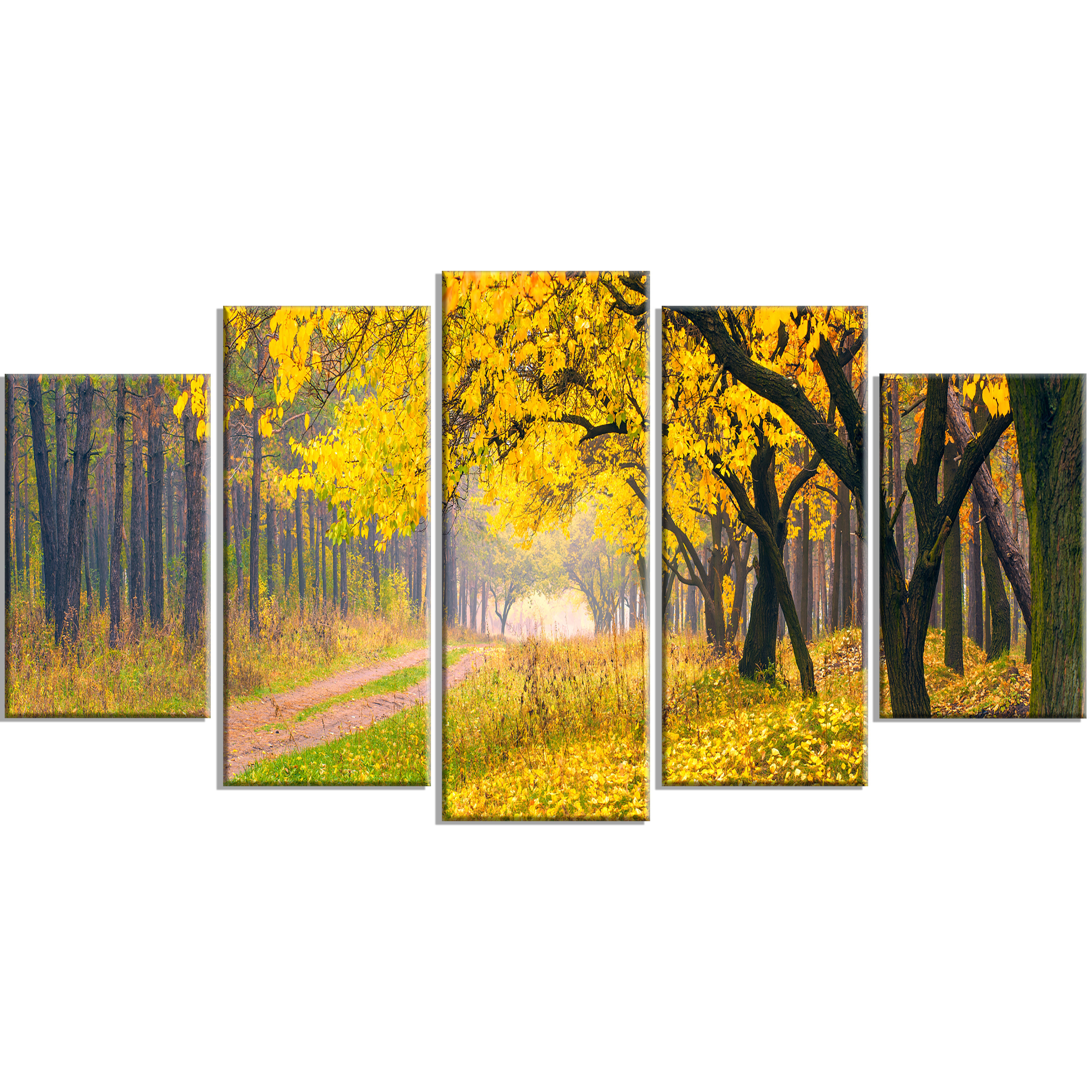 DesignArt \'Bright Yellow Autumn Forest\' 5 Piece Wall Art on Wrapped ...