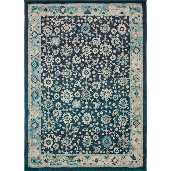 Ernst Navy Blue/Black Area Rug by Bungalow Rose