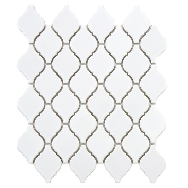 Arabesque 1.87 x 2.75 Porcelain Mosaic Tile in Glossy White by EliteTile