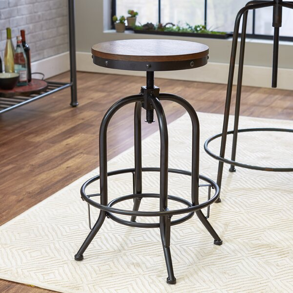 Adjustable Height Swivel Bar Stool by Mercury Row