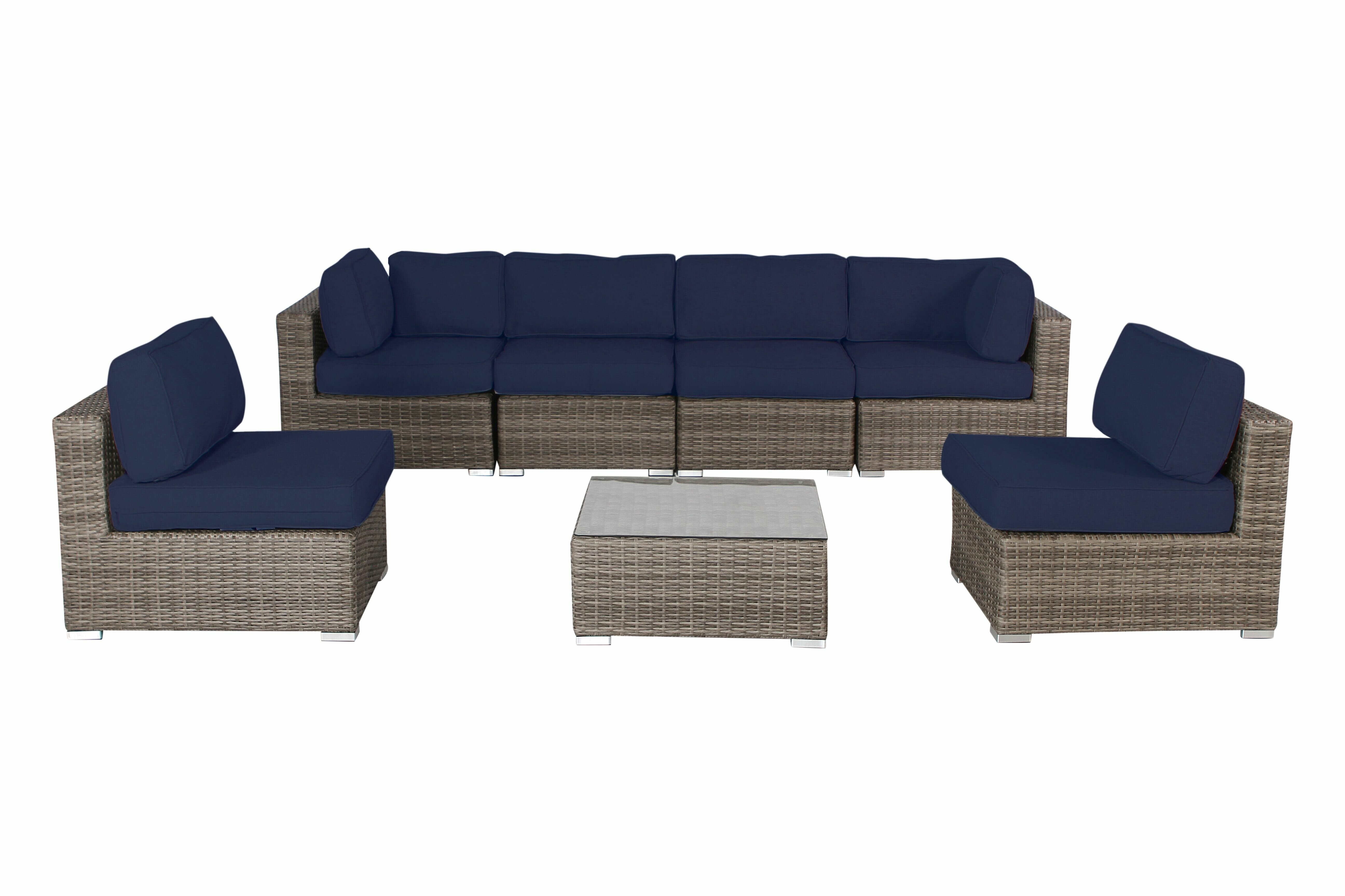 Outstanding Deandra 7 Piece Rattan Sectional Set With Cushions Machost Co Dining Chair Design Ideas Machostcouk