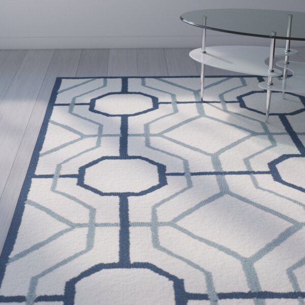 Naya Geometric Ivory/Gray Indoor/Outdoor Area Rug by Ivy Bronx