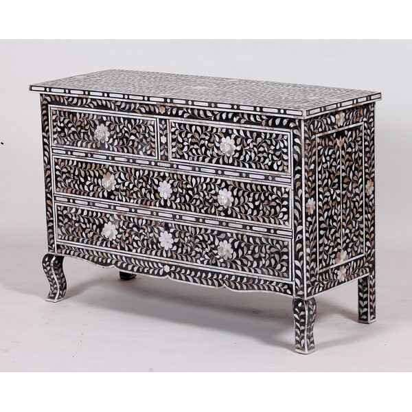 Montanez Mother of Pearl 4 Drawers Accent Chest by Bungalow Rose