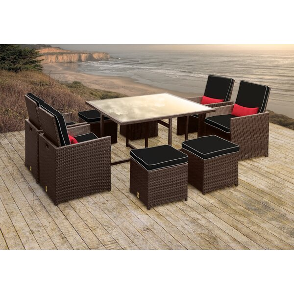 Stella II Patio Rattan 9 Piece Dining Set with Cushions and Rectangular Toss Pillows by Solis Patio