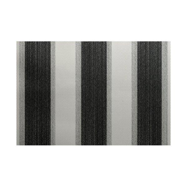 Babineau Stripe Print Black Indoor/Outdoor Area Rug by Orren Ellis