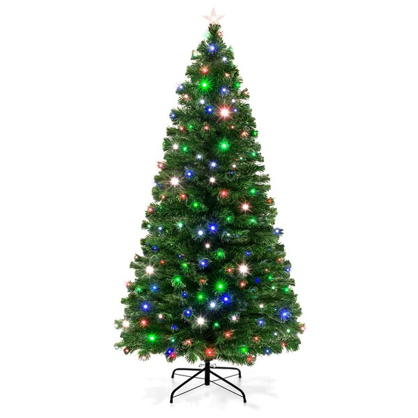 7 ft Fiber Green Pine Artificial Christmas Tree with Star by The Holiday Aisle