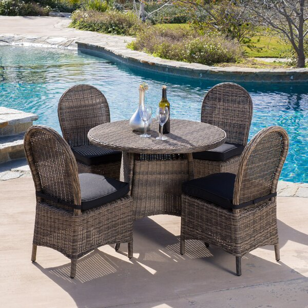 Tarah 5 Piece Wicker Dining Set with Cushions by Home Loft Concepts