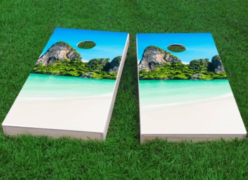 Mountains Beach Cornhole Game (Set of 2) by Custom Cornhole Boards