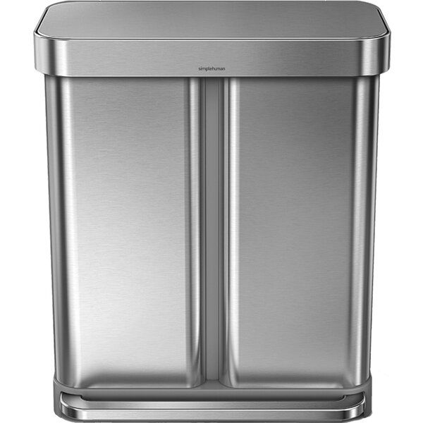 15 Gallon Dual Compartment Rectangular Step Trash Can with Liner Pocket, Recycler, Stainless Steel by simplehuman
