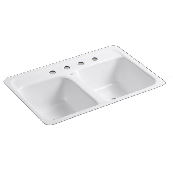 Delafield 32 L x 21 W x 8-1/2 Tile-In/Metal Frame Double-Equal Kitchen Sink with 4 Faucet Holes by Kohler