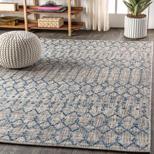 Azaiah Moroccan Geometric Textured Weave Light Gray Indoor/Outdoor Area Rug