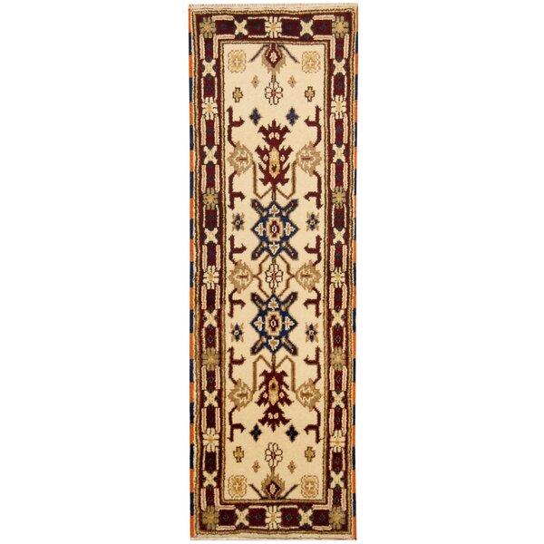 Kazak Hand-Knotted Ivory/Burgundy Area Rug by Herat Oriental