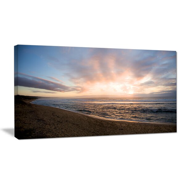 Sunrise over Indian Ocean Waters Seashore Photographic Print on Wrapped Canvas by Design Art