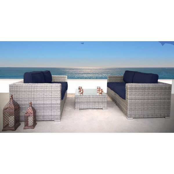 Cepeda 3 Piece Rattan Sectional Seating Group with Cushions by Rosecliff Heights