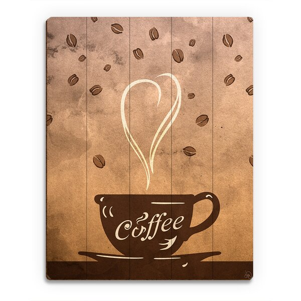 Wood Slats Cup of Coffee Painting Print on Plaque by Click Wall Art