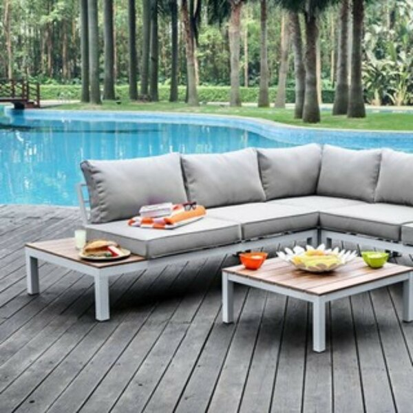 Winona 2 Piece Rattan Sectional Seating Group with Cushions by Williams Import Co.