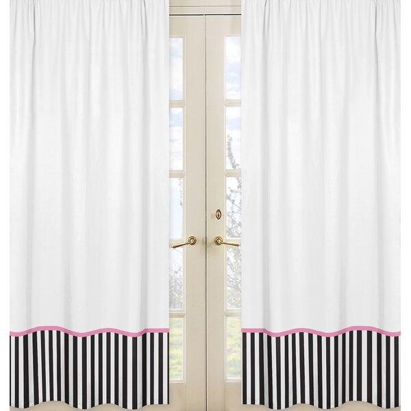 Paris Striped Semi-Sheer Rod pocket Curtain Panels (Set of 2) by Sweet Jojo Designs