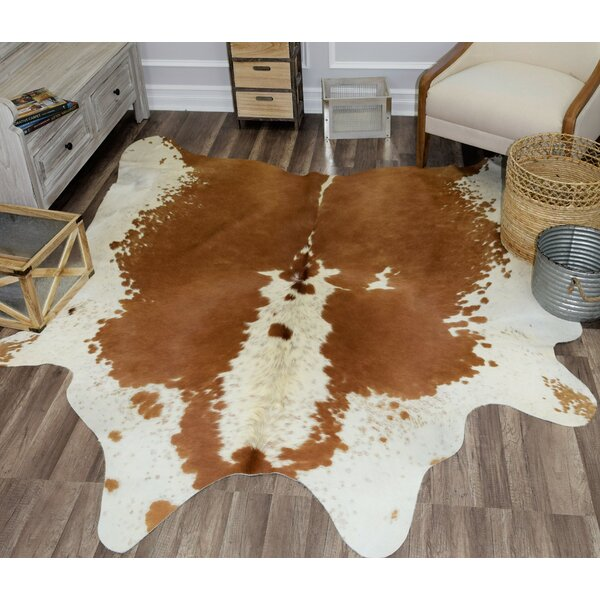 Sarah Hand-Woven Cowhide Beige/Brown Area Rug by M