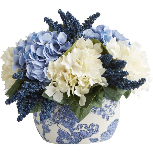 Faux Hydrangea & Heather Centerpiece in Chinoiserie by Creative Displays, Inc.