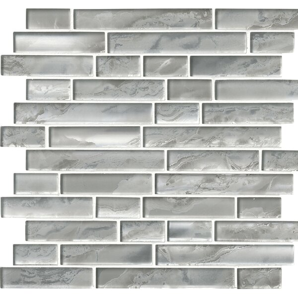 Canvas Interlocking Glass Mosaic Tile in White/Gray by MSI