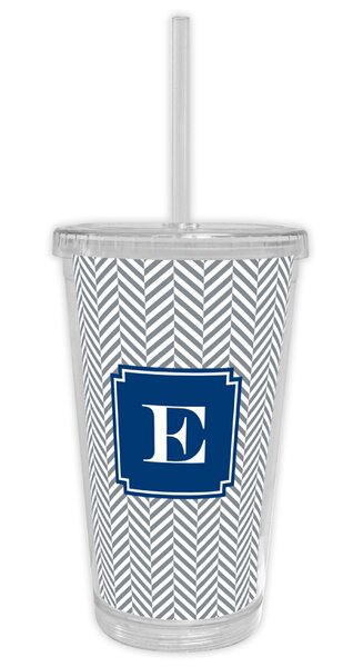 Herringbone Single Initial Beverage 16 oz. Plastic Travel Tumbler by Boatman Geller