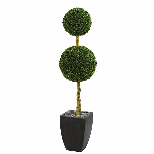 Double Ball Artificial Floor Boxwood Topiary in Planter by Orren Ellis