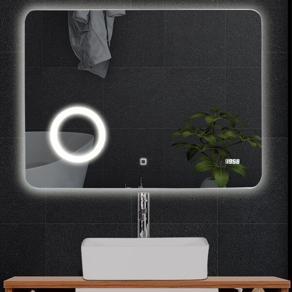 Shasta Touch Button Modern and Contemporary Frameless Lighted Bathroom Mirror