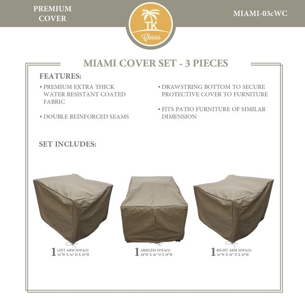 Miami Protective 3 Piece Water Resistant Patio Furniture Cover Set by TK Classics